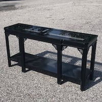 LANE Black Lacquer Chinoiserie Console Table Chester Heights, 19342
