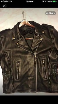 Ladies Black Leather Biker Jacket. Houston, 77062