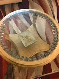 Solid wood coffee table with engravings on it Spruce Grove, T7X 1M9