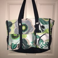 green and white floral tote bag 587 mi