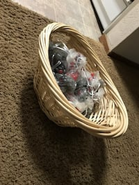 Wicker basket with jellybean party favors