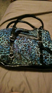 black and blue leopard print leather tote bag Chandler, 85249