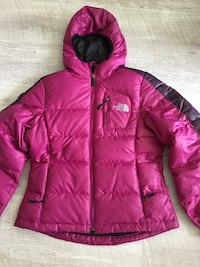 North Face down-feather jacket.