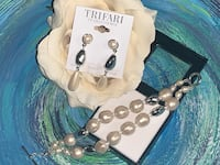 NOS• VTG TRIFARI 'PEARLESSENCE' jewelry set FREEFORM pearls silver NEW Fort Lauderdale, 33304