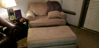 Double wide chair and ottoman