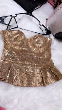 Sequin gold bebe top ! like new.