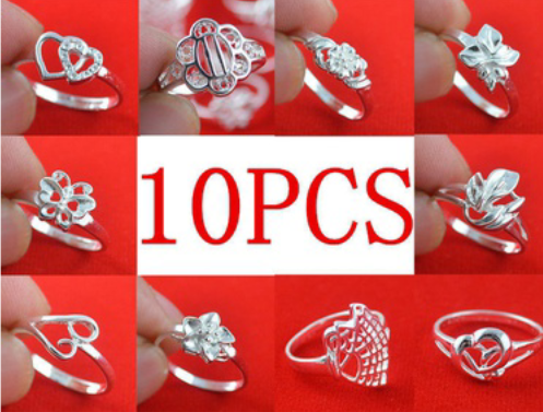 10 PCS of Silver Rings Photo collage Smyrna