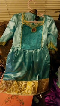 teal and yellow silk long-sleeved dress 18 mi
