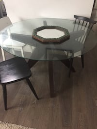 4' Glass top table with wood base Vancouver, V5W 2R2
