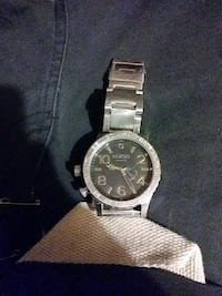 round silver-colored chronograph watch with link bracelet Corona, 92882