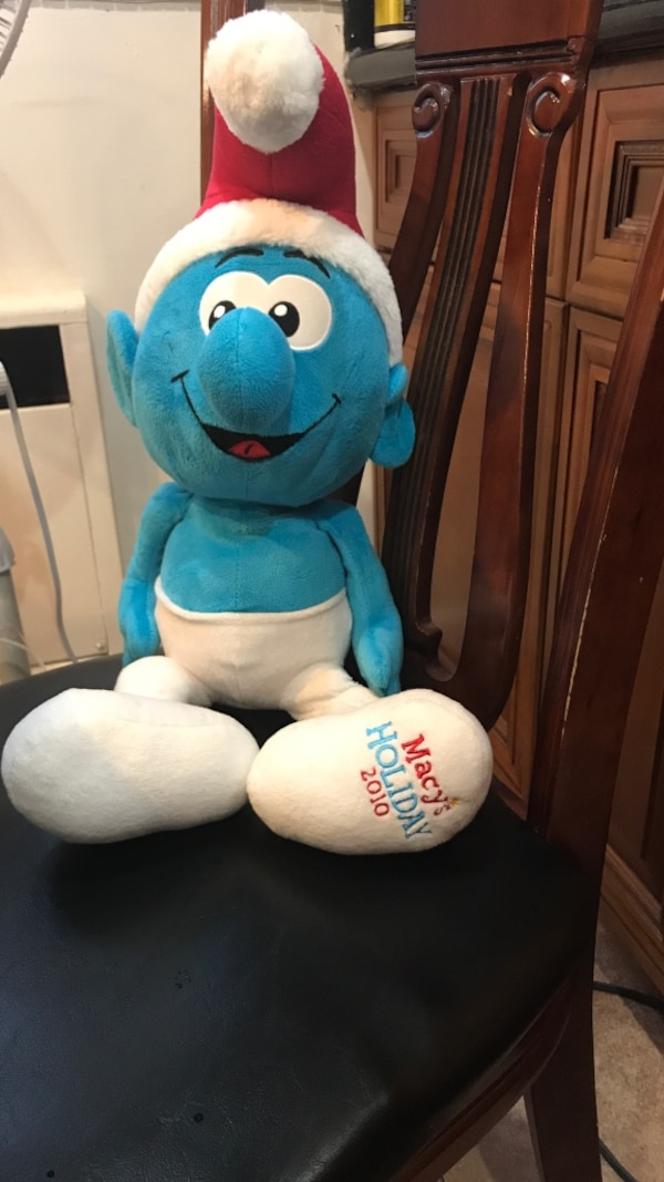 Blue and white original SMURF limited Macy's stuffed SMURF DOLL! Clean! 21  inches tall
