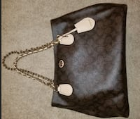 black and gray Coach monogram crossbody bag WASHINGTON