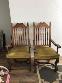 Brown wooden tall back chairs two captains to regular  Modesto, 95355