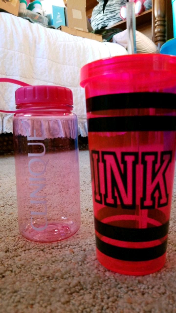 Photo Pink and clinique bottles