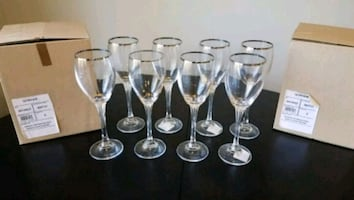 1o Gorham Andante Tall Platinum Wine Glasses