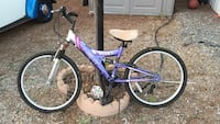 purple and white full-suspension mountain bicycle Vista, 92083
