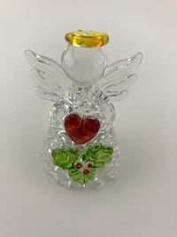 2 New Light-up Glass Angels with Holly Figurines