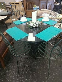 Glass top table and chairs Holly Hill