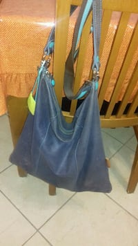 Tote bag in pelle blu e verde Binetto, 70020