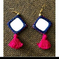 pair of blue and white hook earrings Ahmedabad, 380015