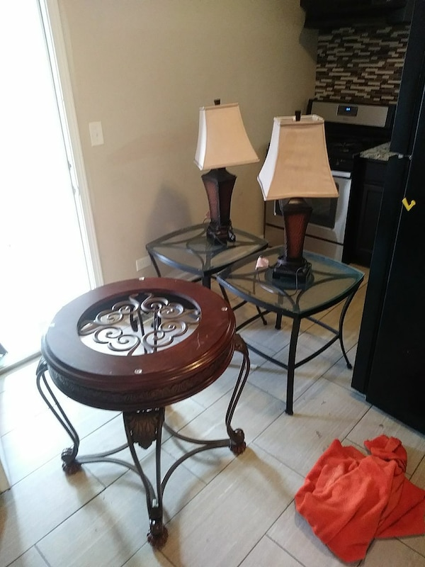 two brown table lamp with two cone lamp shades