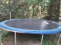 blue and black trampoline with enclosure Elberta, 36530