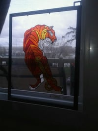 Tiger stained glass art