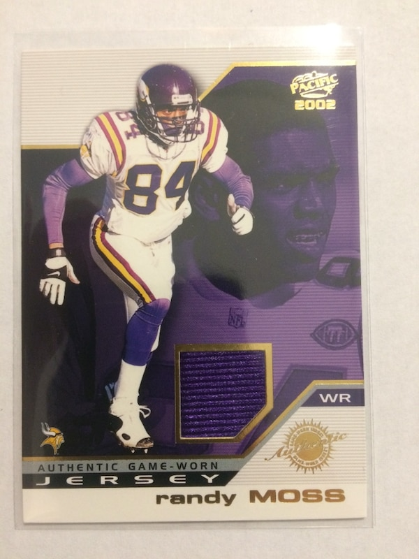 sports shoes 99f14 00b62 Authentic Game Worn Jersey Randy Moss trading card