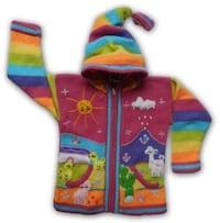 Children arpillera peruvian sweater - Peruvian kids wool jacket  -  All Sizes Woodbridge