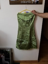 Strapless olive dress, only worn since for wedding Alma, 72921