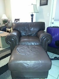 Geuine Soft Real Leather Chair and Ottoman