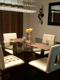 rectangular brown wooden table with six chairs dining set Mississauga, L5V 0C1