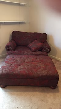 red and brown floral fabric sofa chair with gliding ottoman Walkersville, 21793