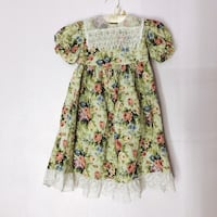 Vintage 90s Green Floral Party Dress Girls 6 Portland, 97222