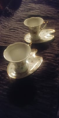 REDUCED*2 SETS/4 PC BEAUTIFUL Fine Porcelain Espresso Cup & Saucer*IF AD'S UP, STILL AVAILABLE  Hamilton