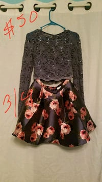 women's black and pink floral long-sleeved dress Colton, 99113