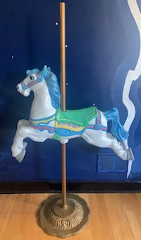 Child size hand painted metal carousel horse