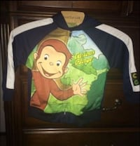 multicolored zip-up jacket with monkey print