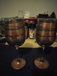 Gold and teal wine glasses Portage, 46368