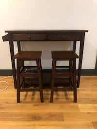 two brown wooden bar stools New York, 11213