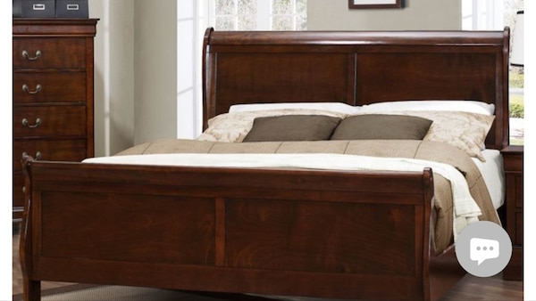 Cherry wood queen sleigh bed frame