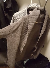 brown and white open cardigans
