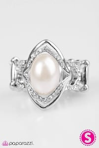 white pearl diamond encrusted silver-colored ring