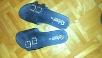 pair of blue suede slide sandals Montréal, H1E 2K4