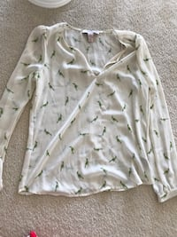 women's white, and green birds print long-sleeved top Bristow, 20136
