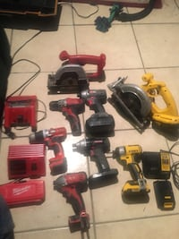 Drills if all kinds and tool boxes