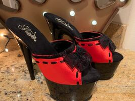 New Pleaser Red & Black  Heels Size 9
