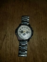 round silver chronograph watch with silver link bracelet Edmonton, T5R 4W4