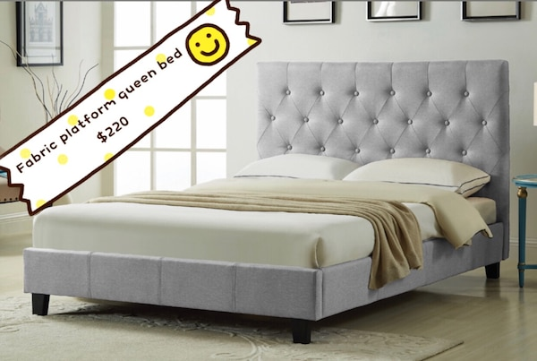 Brand new light grey button tufted fabric platform bed frame on sale