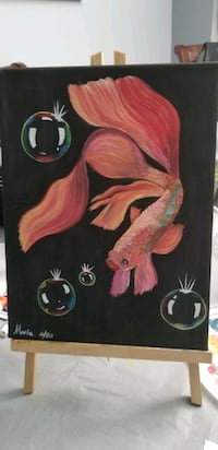 Beta fish Acrylic painting 8 x 10in canvas..ready to hang CA, M1C